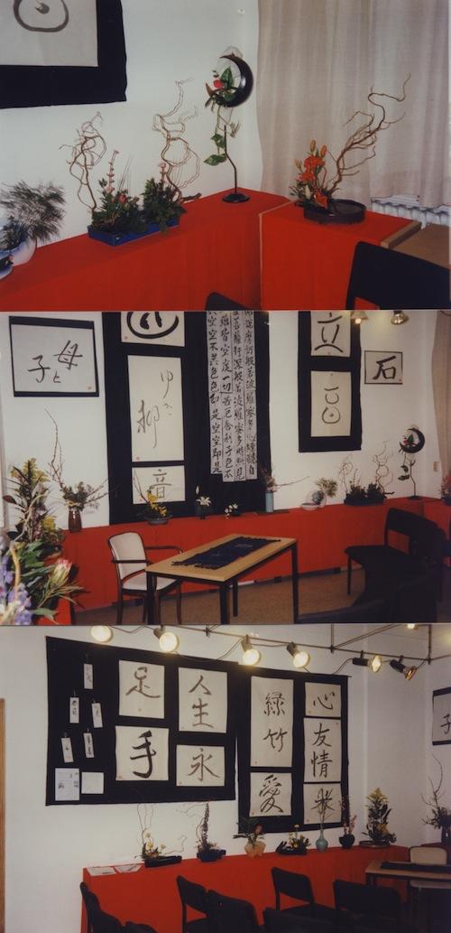 Ikebana und Kalligraphien