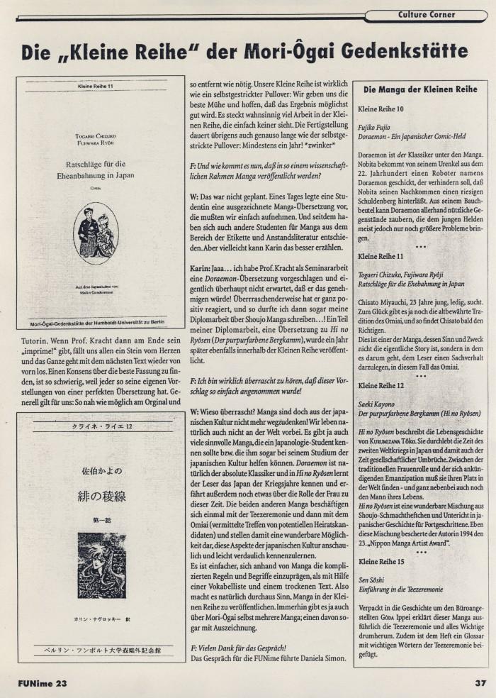 """""""Die 'Kleine Reihe' der Mori-Ôgai-Gedenkstätte"""", Interview mit Beate Wonde, in FUNime 23, S.37"""