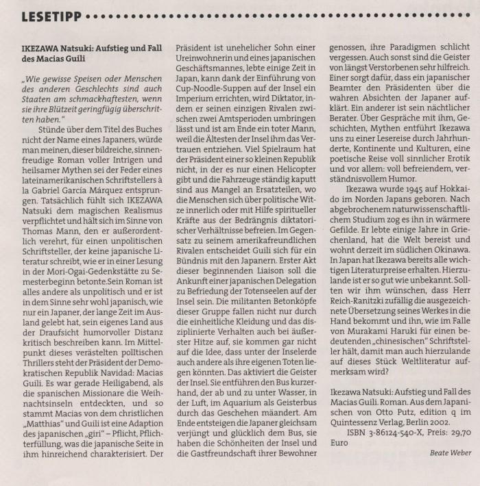 """Ikezawa Natsuki. Aufstieg und Fall des Macias Guili"" in Humboldt 2, 2002:03, S. 10"