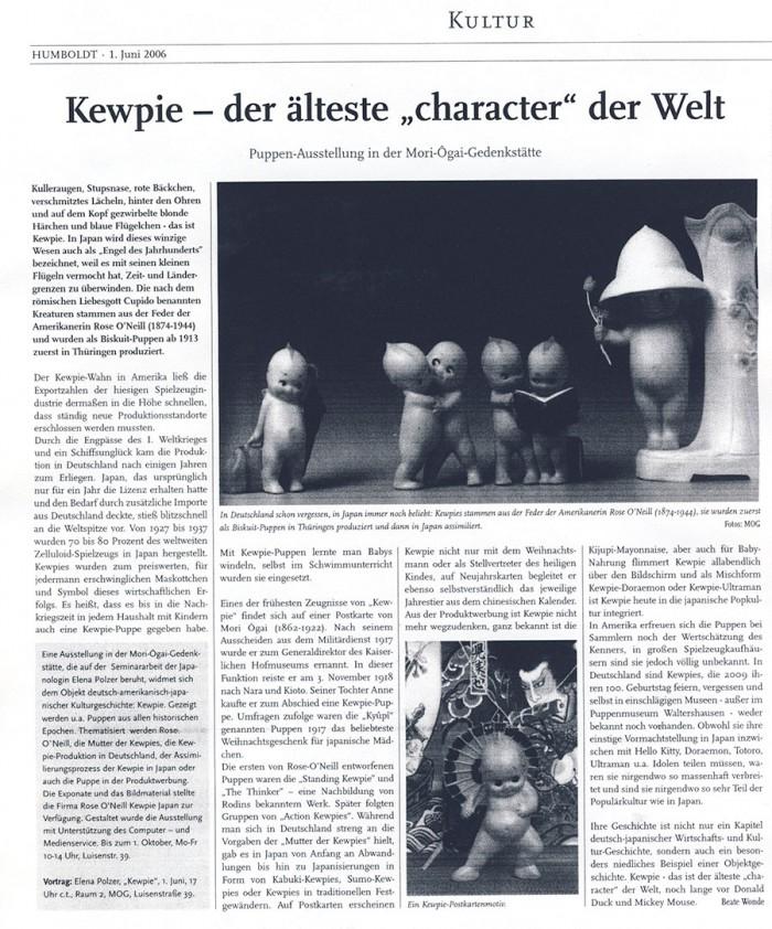 """""""Kewpie - der älteste 'character der Welt'"""" in Humboldt, 1.6.2006, S. 9"""