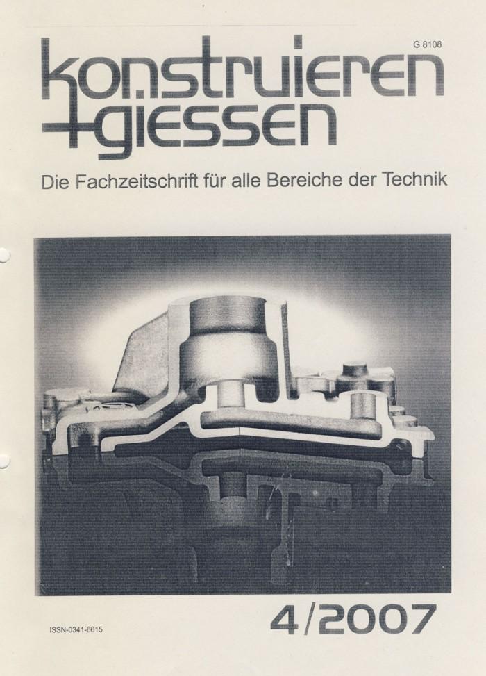 """""""Straßendeckel aus dem 'Reich der Zeichen'"""" mit Annett Stroetmann, in Konstruieren+Giessen, 4/2007, Umschlag"""