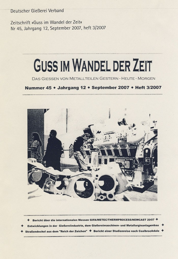 """""""Straßendeckel aus dem 'Reich der Zeichen'"""" mit Annett Stroetmann, in Guss Im Wandel Der Zeit, 3/2007, Umschlag"""
