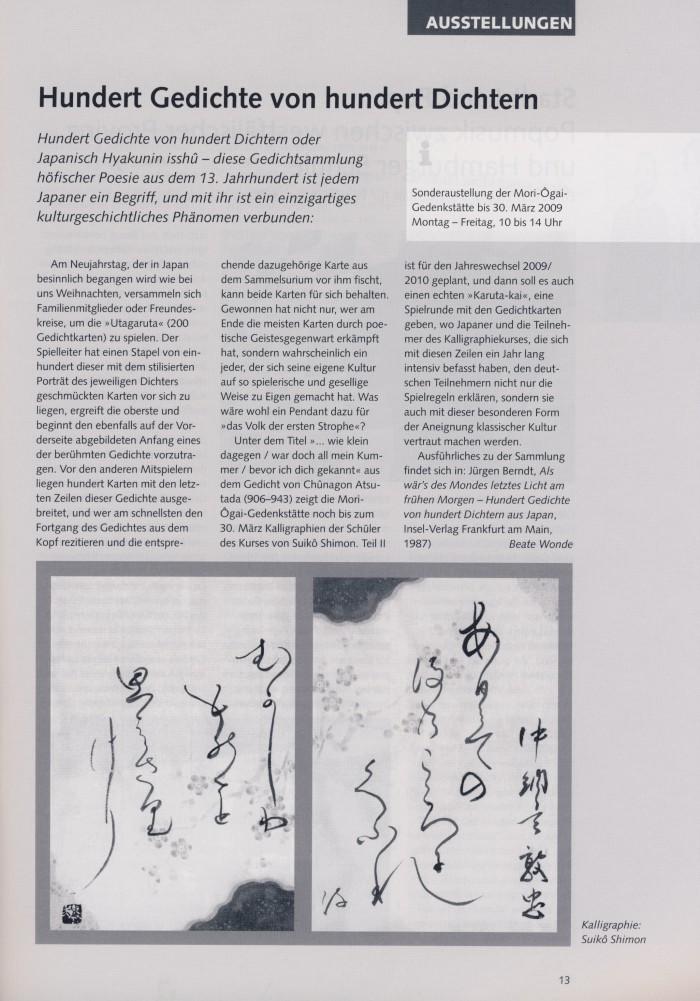 """""""Hundert Gedichte von hundert Dichtern"""" in ALG Umschau, Nr. 41, 3/2009, S.13"""