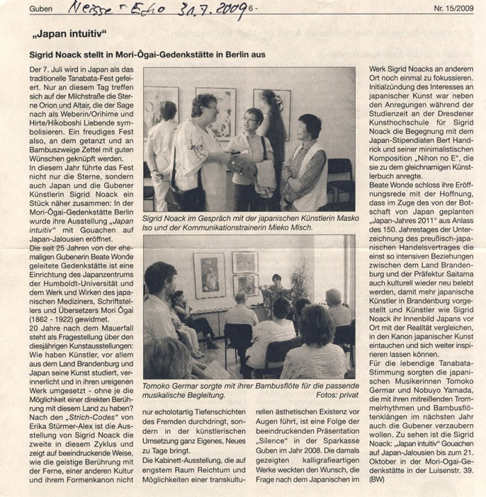 """Japan intuitiv. Siegried Noack stellt in Mori-Ôgai-Gedenkstätte in Berlin aus."" in Neisse-Echo, Nr. 15/2009, 31.07.2009, S.6"