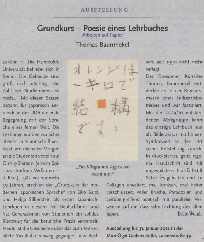 """""""Grundkurs - Poesie eines Lehrbuches"""" in Humboldt, 20.10.2011. S.8"""