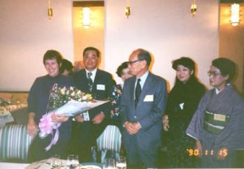 Mit Prof. Kobayashi, Tokiko Murakami und Miori Fujimura beim Empfang nach dem Vortrag