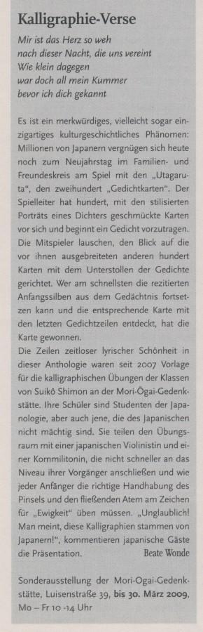 """""""Kalligraphie-Verse"""", in: Humboldt, 15.01.2009, S.8"""
