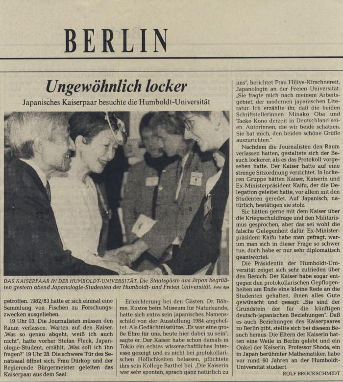 """""""Ungewöhnlich locker - Japanisches Kaiserpaar besuchte die Humboldt Universität"""" in Der Tagesspiegel Nr. 14678, 16.09.1993"""