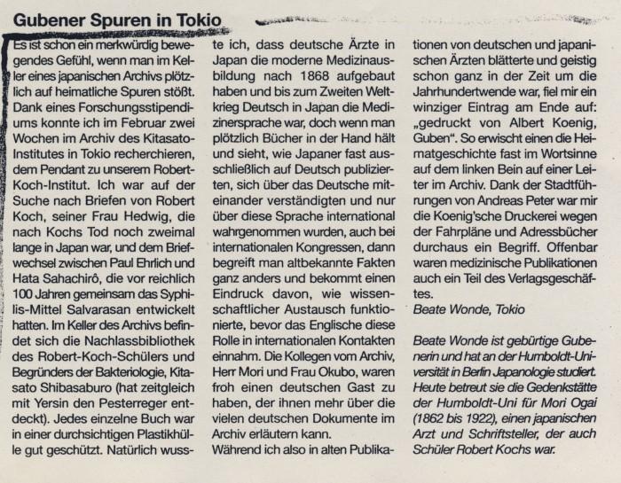 """Gubener Spuren in Tokio"" in Neisse-EchoNummer, Nr. 4, 05.03.2010, S.9"