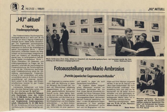 """""""Fotoausstellung von Mario Ambrosius"""" in HU Aktuell 1990/91"""