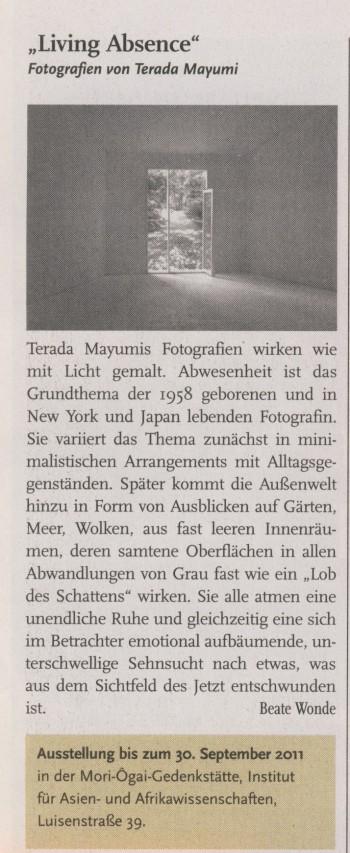 """Living Absence"" Fotografien von Teruda Mayumi in Humboldt 21.04.2011, S. 8"