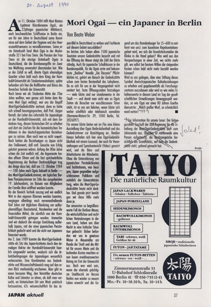 """Mori Ogai - ein Japaner in Berlin"" in JAPAN Aktuell, 20.08.1990, S.37"