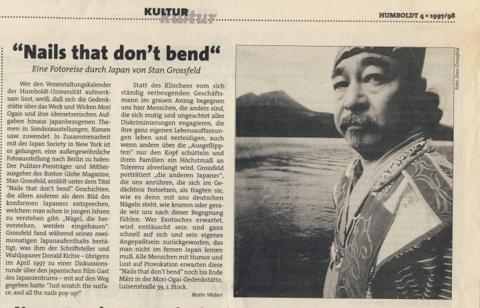 """Nails that don't bend"" Eine Fotoreise durch Japan von Stan Grossfeld, in: Humboldt 4 1997, S.10"