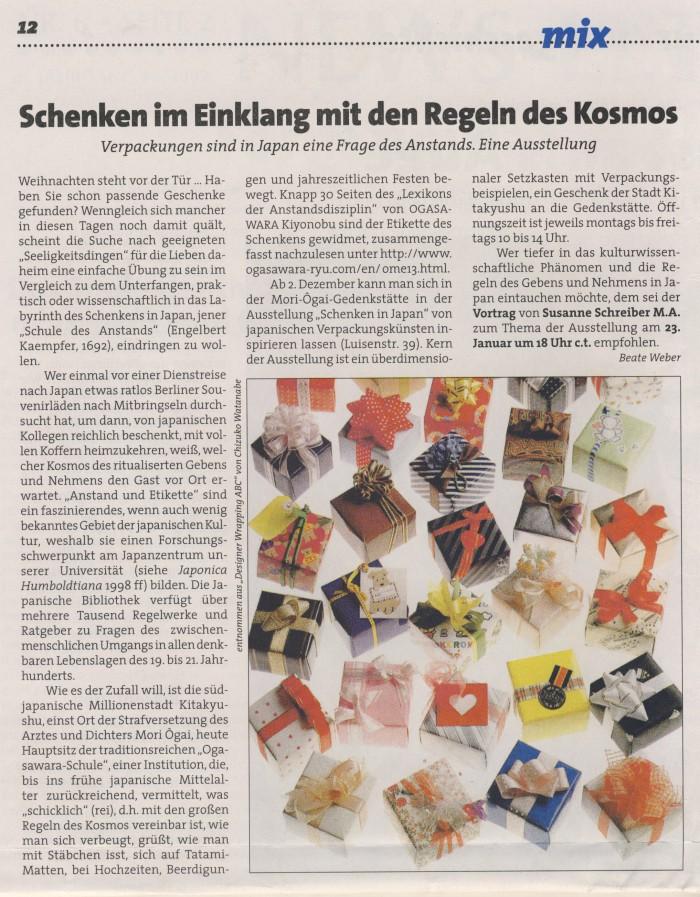 """""""Schenken im Einklang mit den Regeln des Kosmos"""", in: Humboldt 3, 2002/03, S.12"""