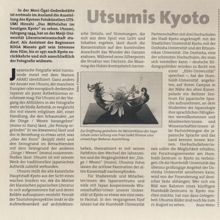 """Utsumis Kyoto"", in: Humboldt 8, 1999/2000, S.10"
