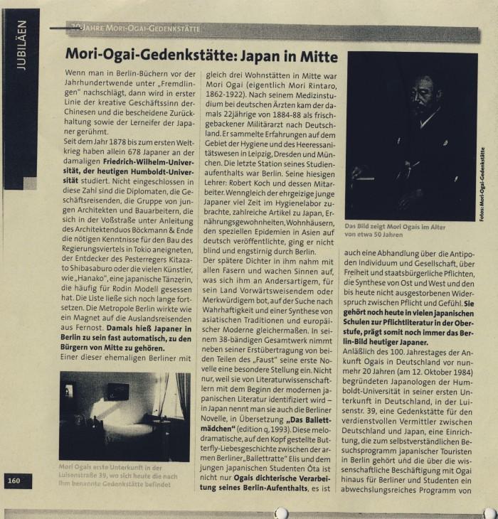 """""""Mori-Ogai-Gedenkstätte: Japan in Mitte"""" in Mitte von Berlin. Metropole und Kiez, S.160"""
