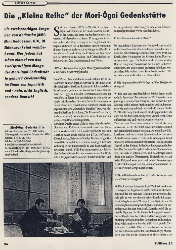 """Die 'Kleine Reihe' der Mori-Ôgai-Gedenkstätte"""", Interview mit Beate Wonde, in FUNime 23, S.36"""
