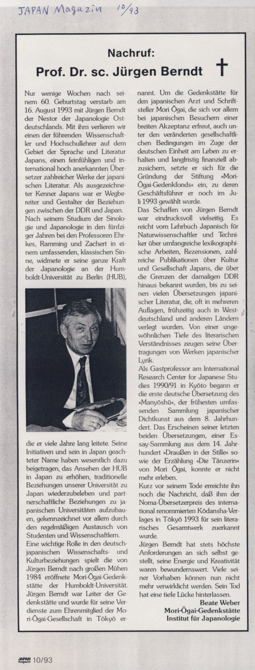 """Nachruf: Prof.Dr.sc. Jürgen Bernd"" in JAPAN Magazin 10/1993, S.31"