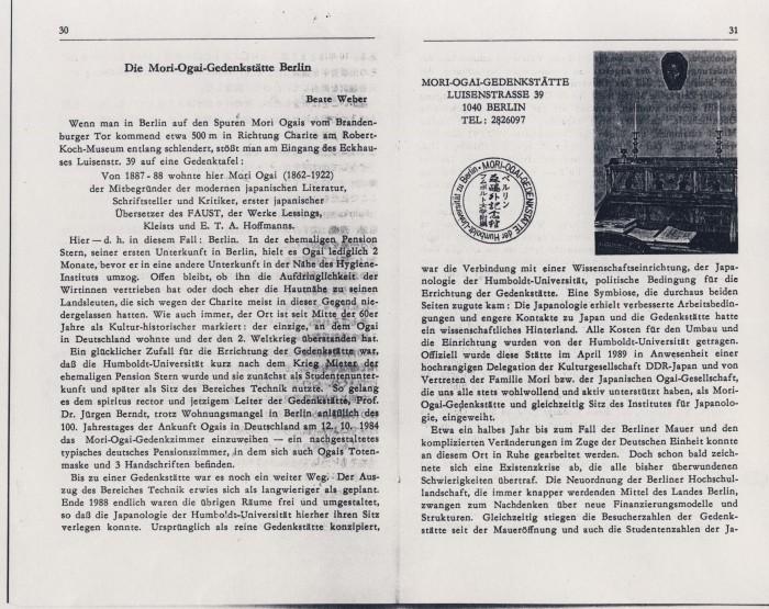 Die Mori-Ogai-Gedenkstätte Berlin S. 30,31