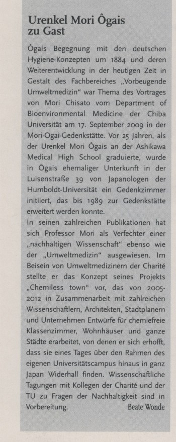 """Urenkel Mori Ôgais zu Gast"" in Humboldt, 9.10.2009, S. 8"