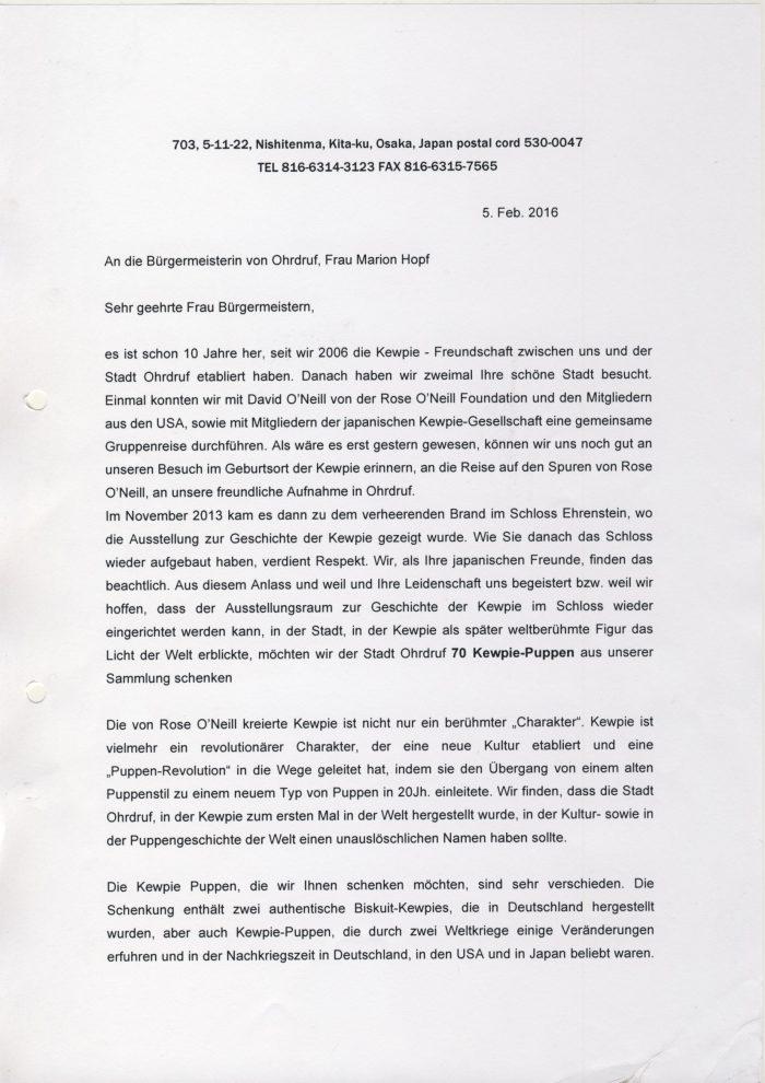 Brief Kitagawa an Fr. Bürgermeisterin 1